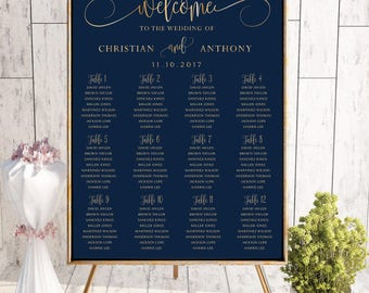 Navy wedding seating chart, Wedding seating chart poster, Wedding Seating Chart, Gold wedding seating chart, Seating chart template, SC101