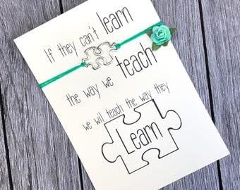 Autism bracelet, Autism awareness, Autism jewelry, Autism mom, Autism charm, Wish bracelet, Friendship bracelet, Mom jewelry, Autism, A72