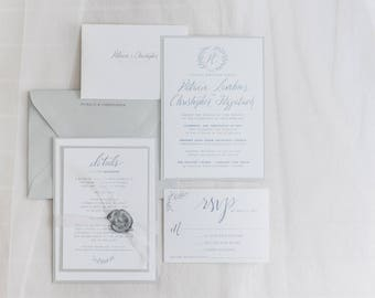 Custom Wedding Invitation Suite, Printable and Customizable, Elegant Wedding, Hand Written Calligraphy and Hand-drawn with Crest/Monogram