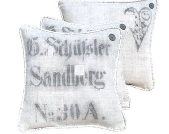 "Antique German Grain Sack Pillow from the 1800s  -  14"" x 14"""