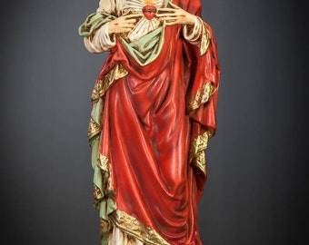 "Christ Statue | Sacred Heart of Jesus Figure | Antique Polychromed Plaster Figurine | Religious Gypsum | Chalk Sculpture | 17"" Large 