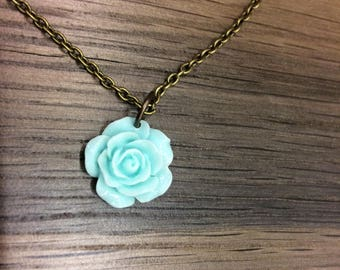 Blue Rose / Antique Gold Chain Choker