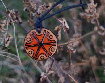 Wooden handmade pendant with slavic Perun , Perkunas symbol ( thundermarks ) on leather cord