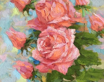 Small Original oil painting floral painted roses contemporary fine art home living room hall nursery wall interior decor pink rose square