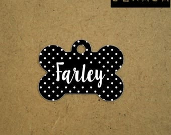 Personalized Dog ID Tag - black pet id Tag - black white polka dots Pet tag customized - free shipping
