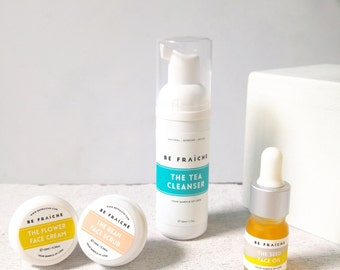 Starter Bundle - Skincare starter / travel set of 4 (cleanser, face scrub, face cream and face oil) - size 5ml - 50ml