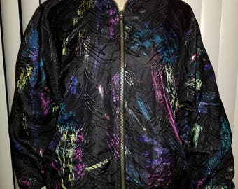 Vintage 80s Windbreaker Neon Bomber Jacket 90s Retro Windbreakers Medium