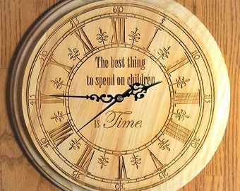 Wooden Hanging Wall Clock with Phrase