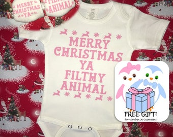 FREE GIFT! My First...Christmas Combo! | Merry Christmas Ya Filthy Animal | Funny Onesie | Baby Clothes | Baby Sleeper | Christmas Onesie |