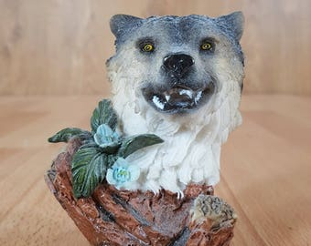 Wolf - Animal Decor - Wolf Decor - Wolf Sculpture - Wolf  Collectible - Wolf  Collectible - Vintage Wolf - Home Decor.
