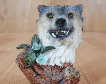 Wolf - Animal Decor - Wolf Decor - Wolf Sculpture - Wolf  Collectible - Wolf  Collectible - Vintage Wolf - Home Decor.