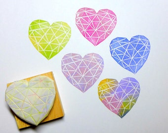 Geometry Heart Rubber Stamp