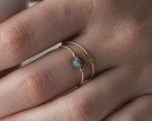 Gaïa - Bague en corde de guitare - Guitar string jewelry - Musicien - Minimaliste - Anneau empilable - Turquoise - Cadeau pour elle