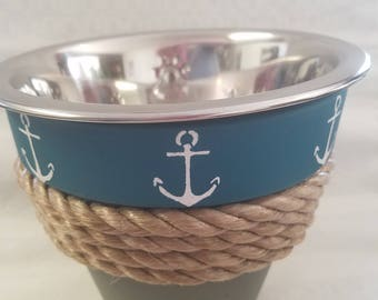 Anchor themed dog bowl