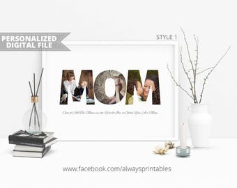 Custom MOM Photo Collage, Personalized Photo Collage, Gift For Mom, Birthday Gifts For Mom, Mothers Day Gift, Unique Gift, Digital File