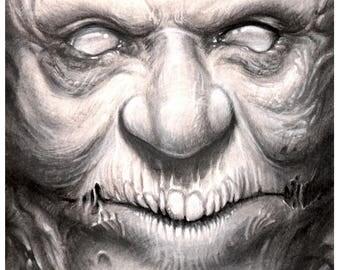 Fat Faced Monster- Original Charcoal Artwork