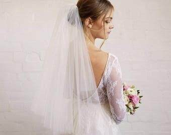 Two-Tiered / Layered Elbow Length Wedding Veil with Raw Edge - Available in White & Ivory