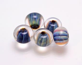 Glass beads for jewelry making set lampwork handmade artisan beads stripe glass beads clear blue rondelle lampwork bead bracelet making bead