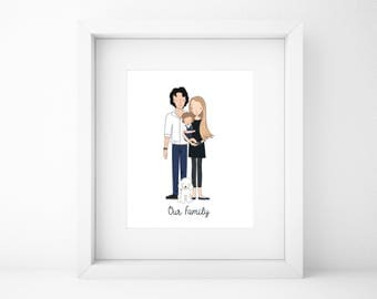 Custom Family Portrait/Family Drawing/Family Illustration/christmas Gift/Wall Art/Printable Wall Art/Couple Portrait/Friends Gift/