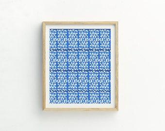 Blue Abstract Print   Scandi Wall Art   Scandi Print   Abstract Artwork   Delpht Pattern   Office Wall Art   Modern Wall Art   Minimalist