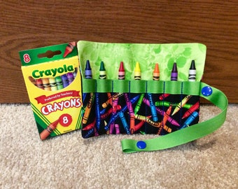 """FREE US SHIPPING, Crayon roll up storage with green trim, Crayon carry case, snap close Crayon roll, multiple colors available, 5"""" x 5.75"""""""