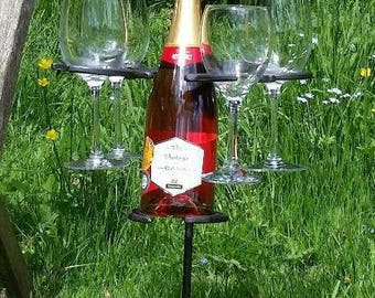 Al Fresco Horseshoe Wine Bottle & Glass Holder BBQ Picnic Wedding Outdoor Equestrian Event