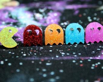 Glitter Resin Pacman Stud Earrings