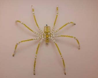 Yellow D6 Beaded Spider