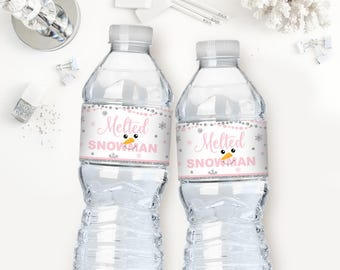 Melted snowman water bottle labels, pink and silver, winter onederland first birthday party, winter baby shower, girl or boy, printable