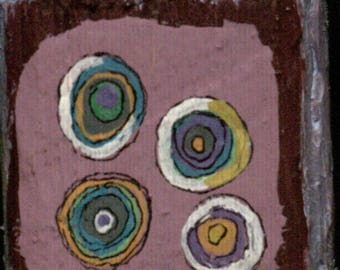 Two Sided Small Block - Retro/Abstract Colorful Circles/Echinacea