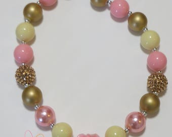 Girls Gold & Pink Flower Chunky Bubblegum Necklace, Little Girls Bubblegum Necklace, Chunky Bead Necklace, Toddler Necklace, Girls Jewelry