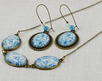 Turquoise flower Cabochon Jewellery Set Bridesmaids Necklace Earrings Set Bronze Cabochon Jewellery Set Bronze Jewellery Long Earrings