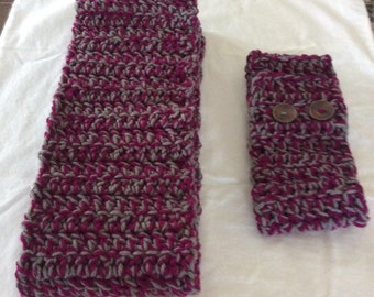 Crochet Bulky Scarf & Headband set / Double Strand