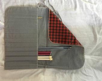 Knitting Needle Case, Knitting gift ideas, Knitting Organizer, gifts for knitters, knitter gift, needle case, vintage, knitting, plaid