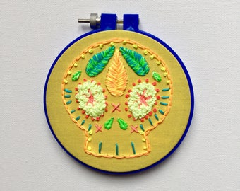 Sugar skull, candy skull, dia de los muertos, day of the dead, embroidery hoop art