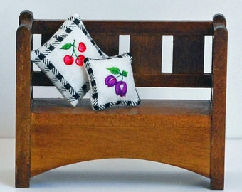 Parsons bench for the hallway - walnut finish - sturdy construction - two fruity pillows - dollhouse furniture - vintage miniatures