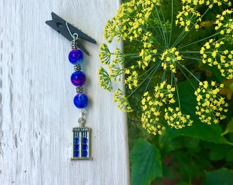 Blue Police Box - Car Diffuser - Car Vent Charm - Galaxy Beads - Outer Space - Car Vent Clip - Geek Gift - Nerd Gift - Car Accessories