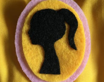 Hand sewn yellow pink and black felt cameo brooch with lady silhouette. Regency Era and Austen inspired.