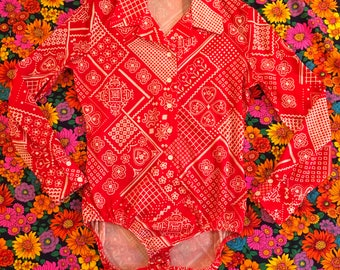 Vintage I. Magnin Jump Shirt Red and White Body Suit Leotard Long Sleeve Flower Power Daisy Grid Patchwork Geometric Hearts Shirt 1970s