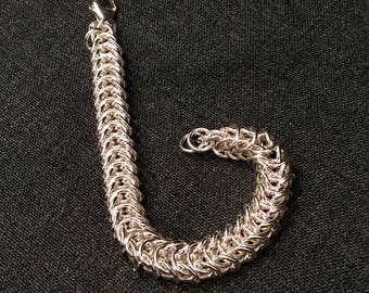 Sterling Silver Box Chain Maille Bracelet