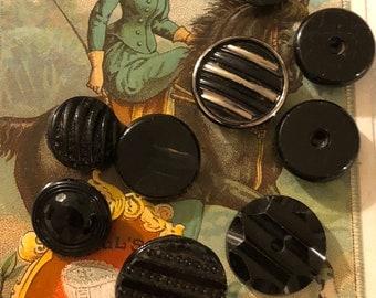 Vintage Buttons - Assorted Black Jet Buttons Set of 9
