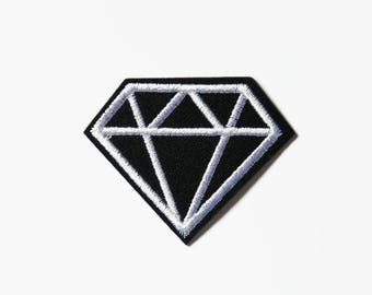 Patch Diamond - Black Diamond Badge - Iron On Patch Diamond - Clothing Accessories Stocking Filler Applique and Patches Sew On Patch Diamond