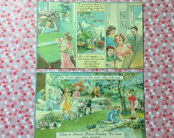2 Sunday School Postcards - Vintage - 1940's - Religious
