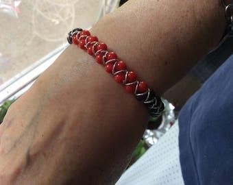 Red jasper red coral semiprecious stones bracelet