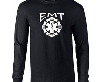 EMT Fire Rescue Emergency Firefighter Paramedic Long Sleeve Tee Shirt