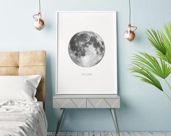La Luna Print, Full Moon Wall Art, Luna Art Print, The Moon Printable Poster, Moon Art, Luna Illustration, Moon Print, Moon Illustration