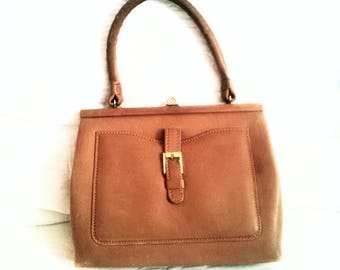 Vintage cognac leather handbag