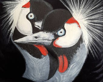 Crowned Cranes, Pair - Hand-Painted Cushion
