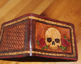 Hand Made Skull & Roses Bifold Wallet
