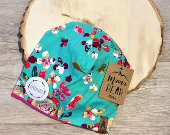 Reversible Kids Slouchy Beanie-Teal Pink Floral-Newborn Beanie-Baby Beanie-Kid Beanie-Adult Beanie-Stretchy Hat-Baby Shower Gift